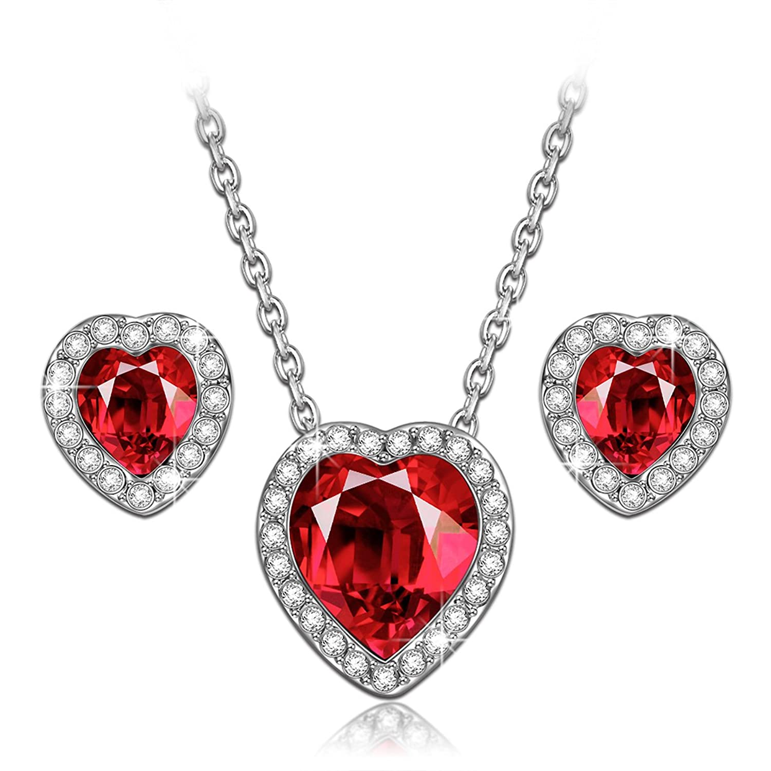 true love ruby heart necklace earrings jewelry set made. Black Bedroom Furniture Sets. Home Design Ideas