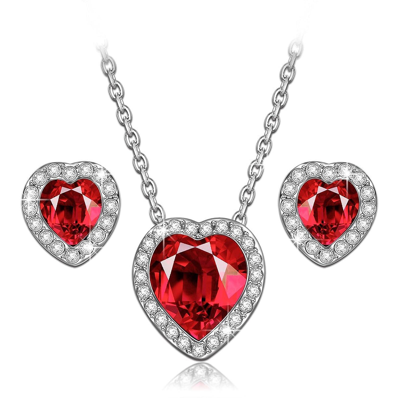 true love ruby heart necklace amp earrings jewelry set made