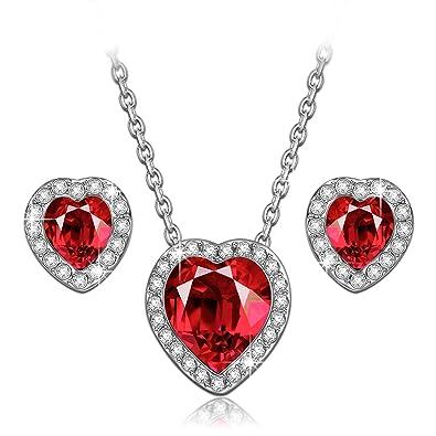 ebeb78ba9 LADY COLOUR Women Gifts Jewelry Set True Love Ruby Heart Pendant Necklace  Stud Earrings for Her