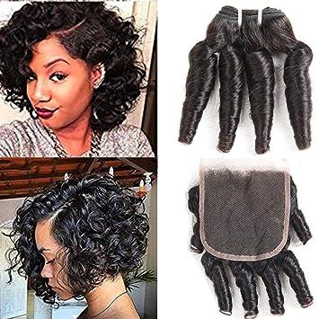 Amazon Com Funmi Curly Hair Bundles With Closure 10a Brazilian