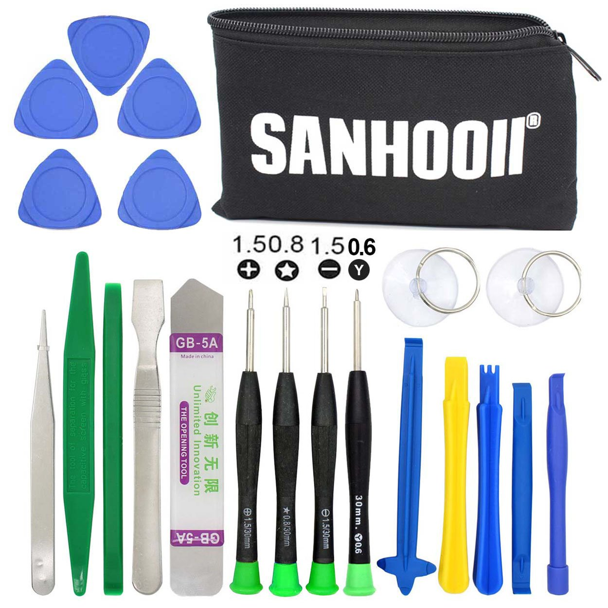SANHOOII 21 in 1 Phone Repair Tools, Phone Opening Pry Tool Screwdriver Set Compatible with iPhone 6/6s/7/7Plus/8/8Plus/X, iPad, Watch, iPod, iTouch, Smartphone Sanhooii Ecommerce Co. Ltd. PA264