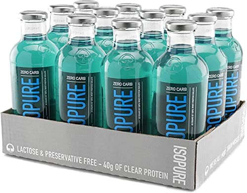 Isopure 40g Protein, Zero Carb Ready-to-Drink- Blue Raspberry, 20 Ounce Pack of 12