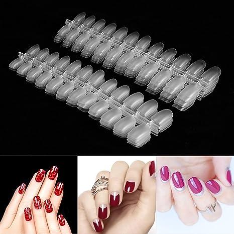 288pcs uñas falsas artificiales de la belleza transparente, consejos falsos del clavo de la cubierta