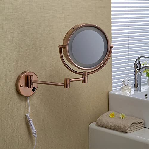 Wall-mounted round folding LED light makeup mirror Red bronze bathroom mirror