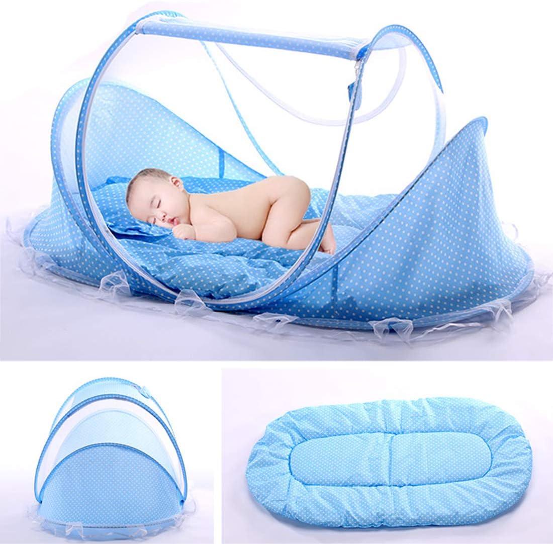 Netz tragbar Reisebett mit Moskitonetz Farbe Blau Baby Kissen atmungsaktives Netz Insektenschutz Wiege gepolstert Kinder B/ären weich faltbar