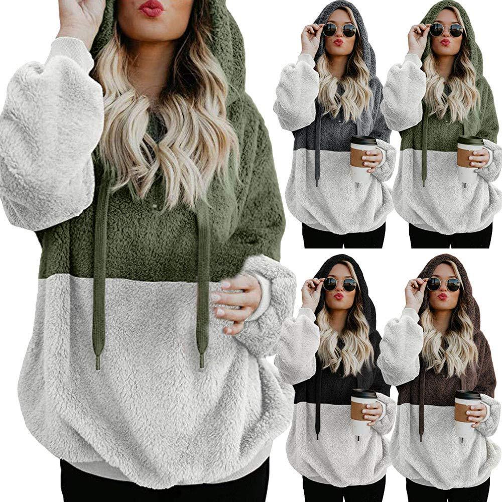 Redshop Women Hooded Sweatshirt Causal Slim Winter Warm Zipper Pocket Pullover Blouse Shirts
