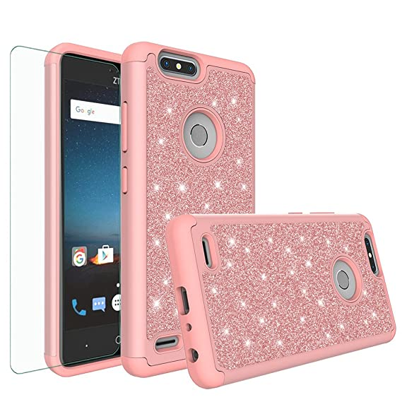 cheap for discount 6f202 5c4d0 ZTE Blade X Case, ZTE Blade Force Case, ZTE N9517 Glitter Bling Heavy Duty  Hybrid Case with [HD Screen Protector] Dual Layer Protective Phone Case ...