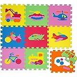 Tappeto Puzzle per Bambini   in Soffice Schiuma EVA   Tappetino Gioco per la Cameretta   con Disegni di Veicoli da Comporre