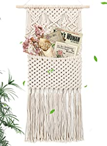 "Gute Macrame Magazine Storage Organizer, Wall Hanging Decor, Mail Holder Key Organizer, Cotton Woven Hanging Pocket Boho Wall Decor Ivory, 16"" W x 31"" L"