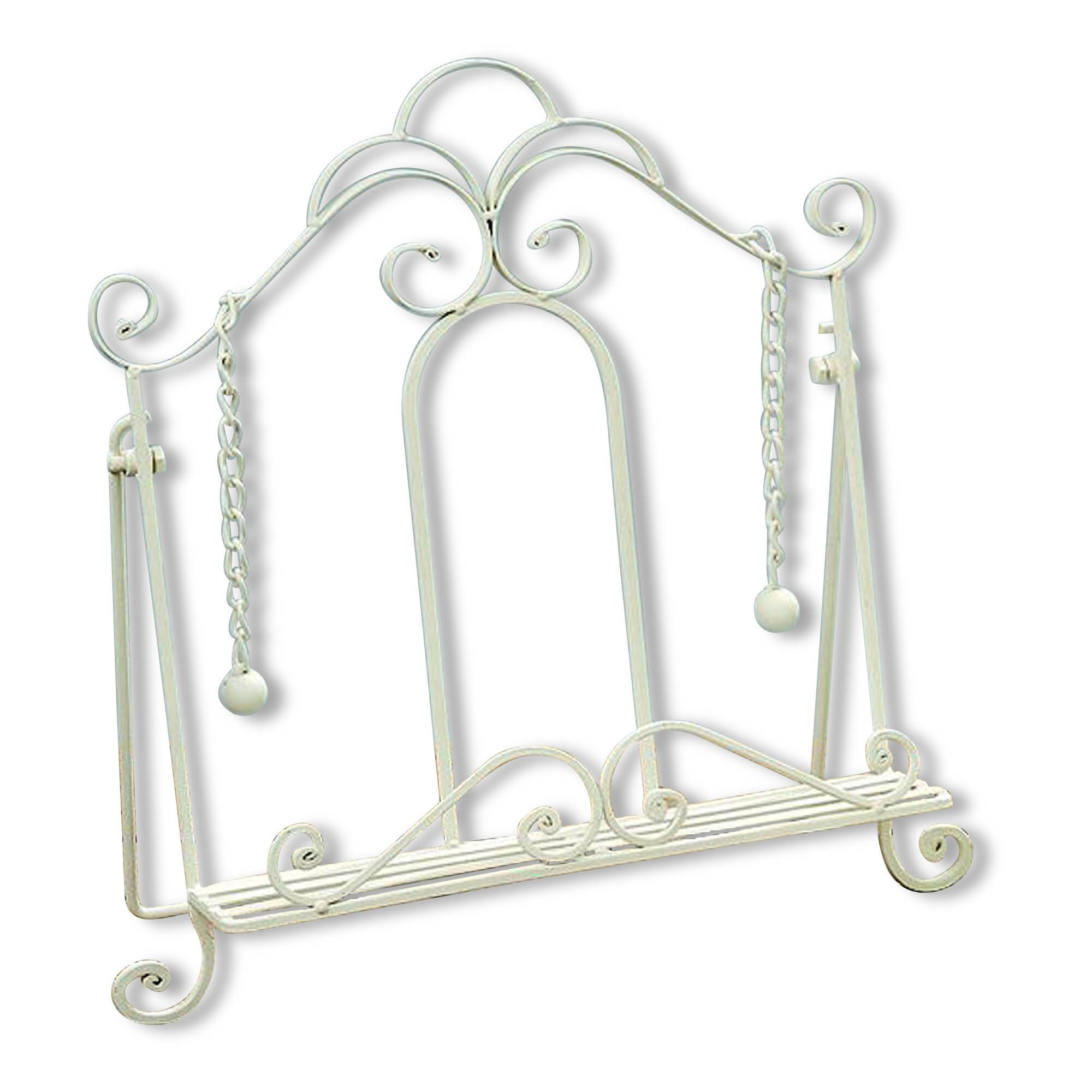 Gastro Chic Cook Book Stand, Artisinal Design, White, Weighted Drop Chain Page Holders, Iconic Scroll Work Details, Easel Back, 13 3/4 Inches Tall by WHW Whole House Worlds