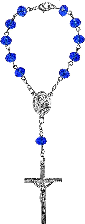 Kaltner Präsente–Regalo Idea–10Auto Rosario para hombre y mujer corta con Cruz Colgante Y Perlas De Cristal Azul