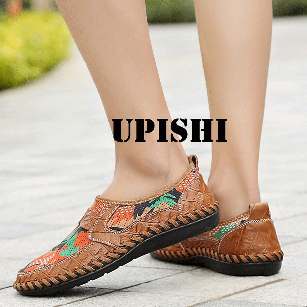 UPIShi Mesh Breathable Men Flats Casual Driving Moccasin Leather Loafers Lightweight Stitching Shoes Brown 45 by UPIShi (Image #7)