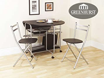 Folding Dining Set Drop Leaf Table And Chairs Butterfly Dining Table With  Four Folding Dining Chairs Black Finish: Amazon.co.uk: Kitchen U0026 Home
