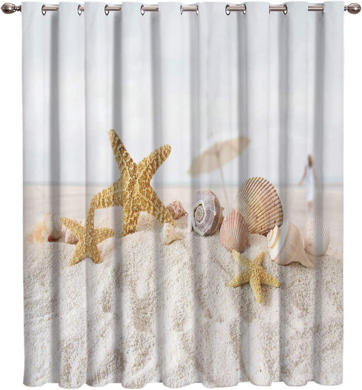 Cloud Dream Home Blackout Curtains Starfish Seashell Darkening Blackout Window-Treatment-Panels for Bedroom Beach Theme Draperies Window Curtain 1 Pieces, 52 W x 63 L