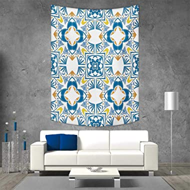 smallbeefly Ethnic Vertical Version Tapestry Tunisian Mosaic Azulojo Spanish Influence Authentic Retro Arabesque Inspired Artwork Throw, Bed, Tapestry Yoga Blanket 70W x 93L INCH Blue