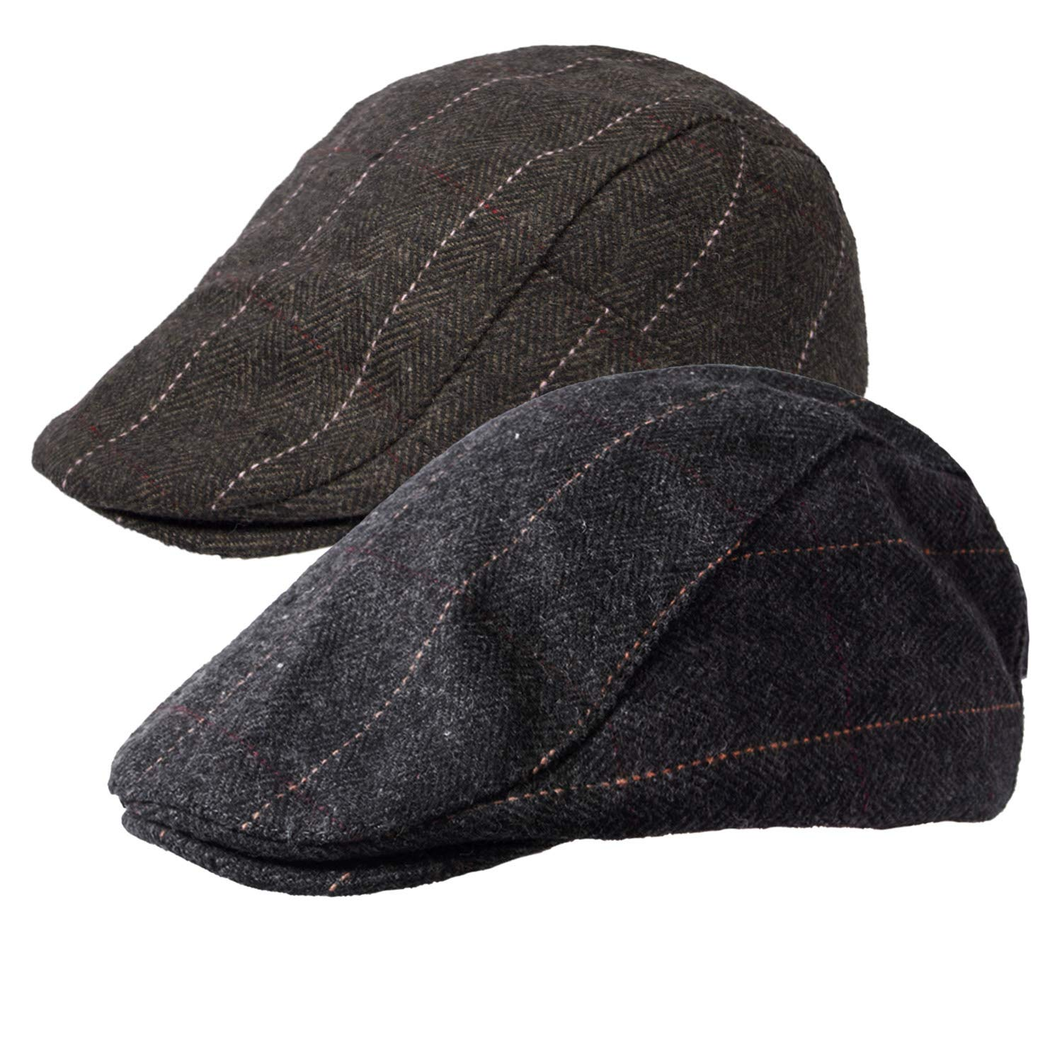2b62de62 Senker 2 Pack Men's Classic Herringbone Tweed Wool Blend Flat Cap Ivy  Gatsby Newsboy Cabbie Driving