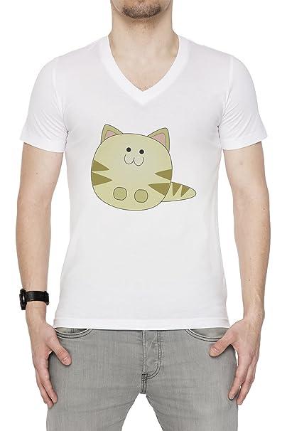 Dibujos Animados Gato Hombre Camiseta V-Cuello Blanco Manga Corta Tamaño S Mens T-
