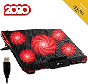 KLIM Cyclone Laptop Cooling Pad - 5 Fans Cooler - No More Overheating - Increase Your PC Performance and Life Expectancy - Ventilated Support for Laptop - Gaming Stand to Reduce Heating (Red)