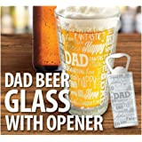 KOVOT DAD Sentiments Beer Glass & Bottle Opener Set - Great Gift For Dad