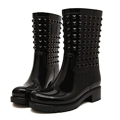 Amazon.com | HnB Women Spiked Welly Boots Wellies Rain Boots ...