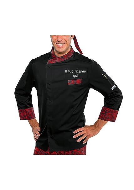 Giacca Cuoco Nome Ricamato Personalizzabile Online Modello Durango Nero-Rosso  Sushi Isacco (s) 1700708b8e8c