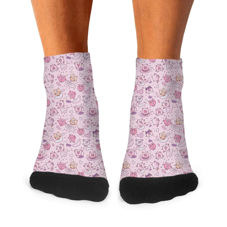 Mens athletic low cut Ankle sock Cute Cartoon Pig Short Casual Sock