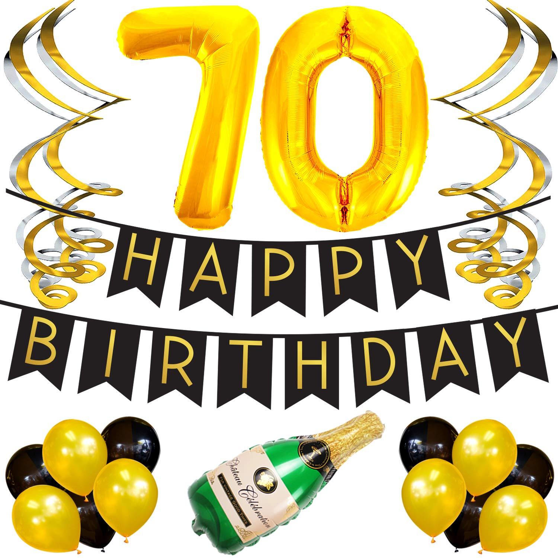 Cumpleaños Número 70 – Paquete con Banderín de Feliz Cumpleaños Negro y Dorado, Pompones y Serpentinas - Decoración para Cumpleaños – Artículos para ...
