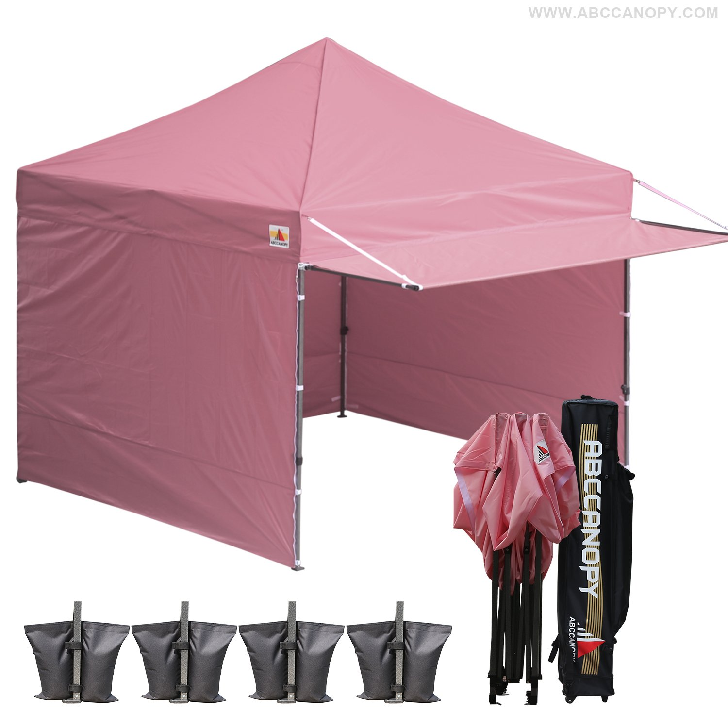 AbcCanopy 10 x 10 Pink Ez Pop up Canopy Ourdoor Party Tent Gazebo With 3 Removable Zipper Sidewalls and 1 Removable Zipper Doorwall BOUNS Canopy awning and Roller Bag