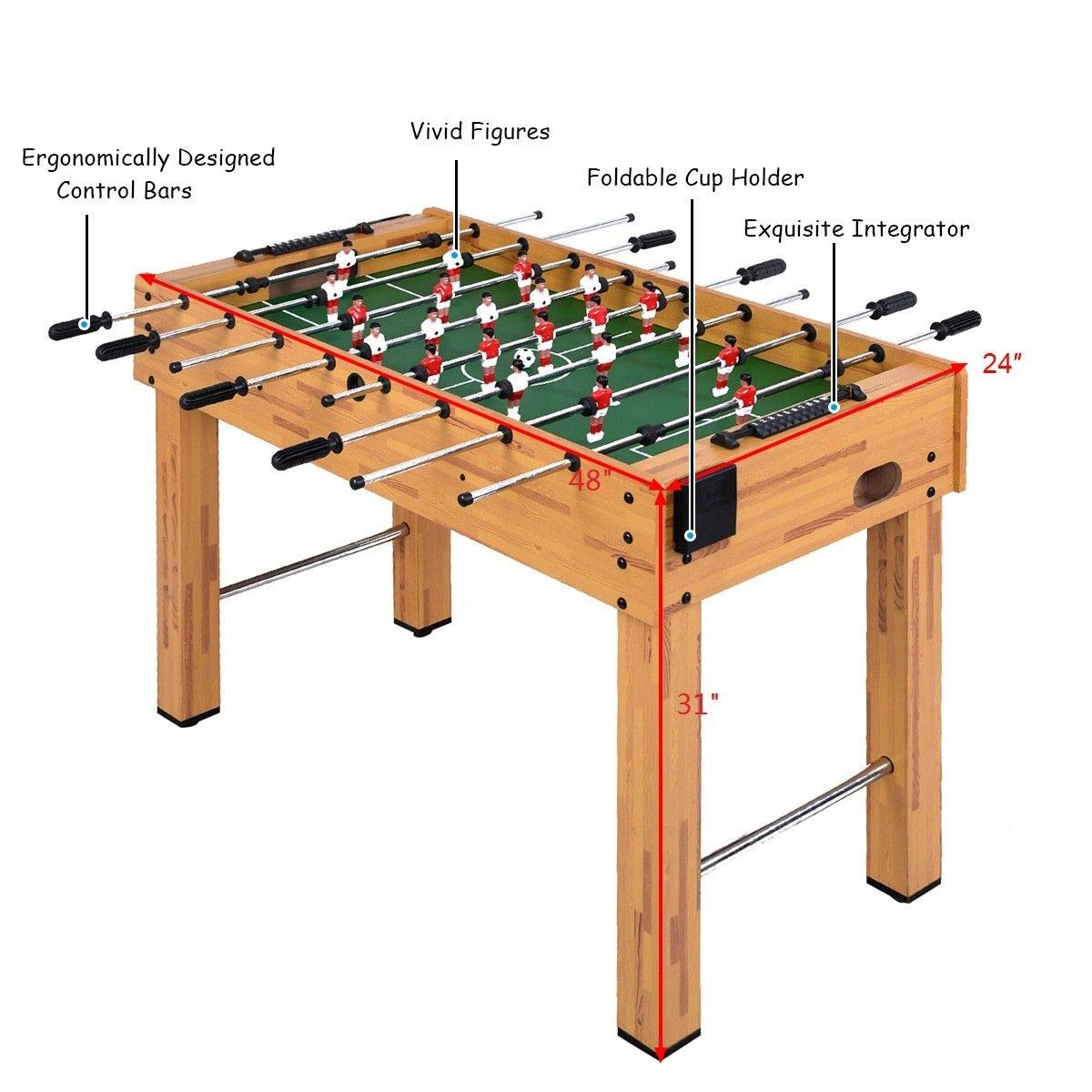 Giantex Foosball Soccer Table 48'' Competition Sized Arcade Game Room Hockey Family Sport by Giantex (Image #4)