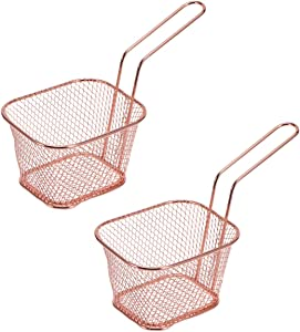 FRCOLOR Wire Fry Basket Stainless Steel Wire Deep Fry Baskets Mini French Fries Basket Square Fry Baskets Culinary Basket Mesh Fryer Serving Basket Rectangular Fryer Baskets Copper 2pcs