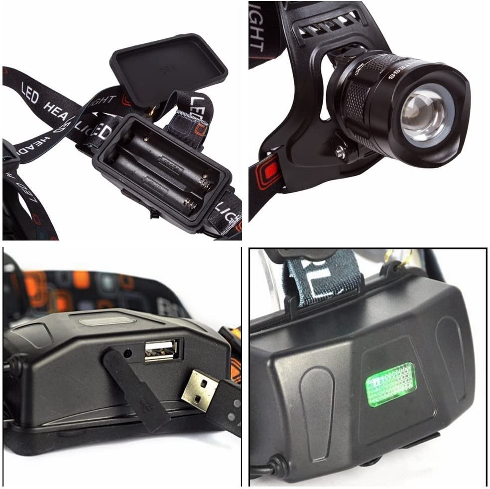 BESTSUN 2000 Lumens 5 Modes Zoomable Rechargeable LED Headlamp, Bright Hands Free Head Flashlight with USB Output for Hunting Fishing Riding Camping Walking Dog, 18650 Batteries and Charger Included 71eqHQi4XML