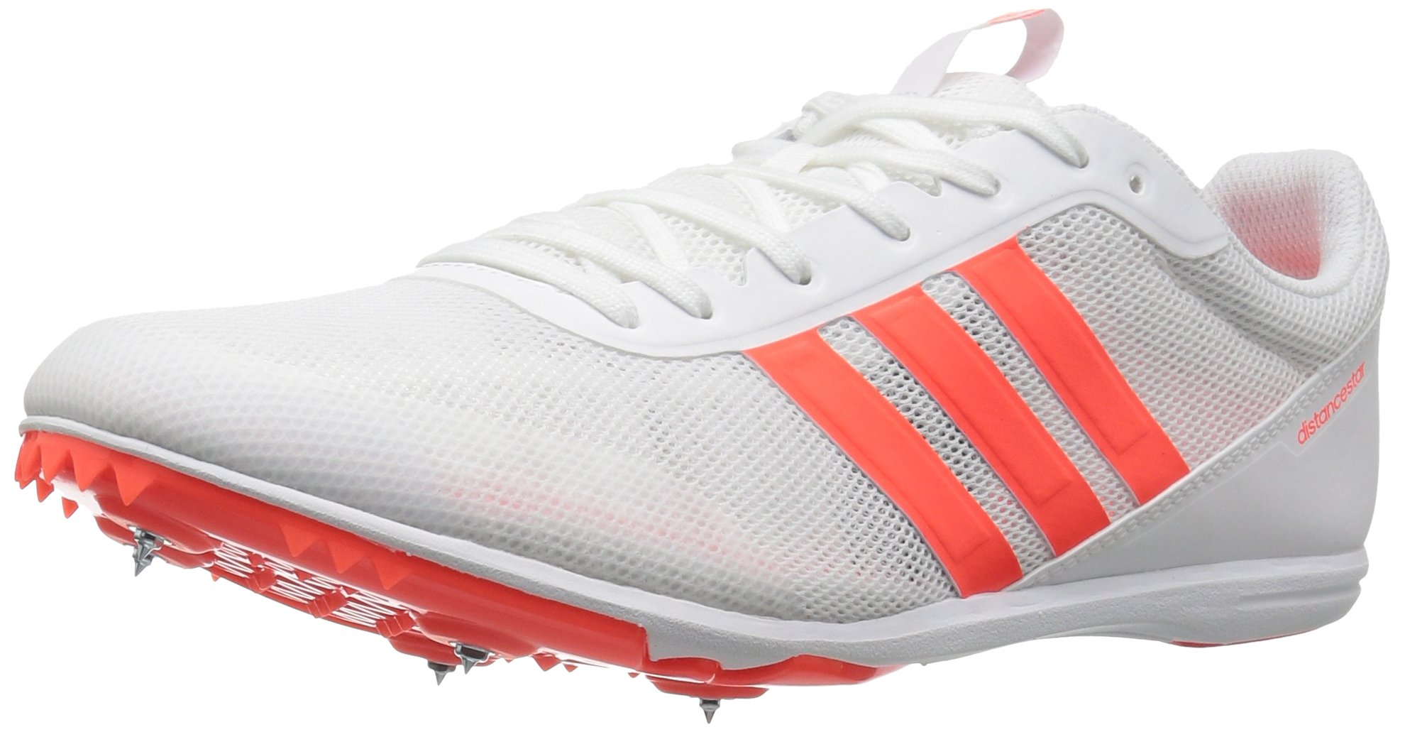 adidas Men's Distancestar Track Shoe, White/Infrared/Infrared, 8 M US
