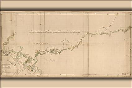 River Map Of Georgia.Amazon Com 42x63 Poster Map Of Savannah River Georgia 1752