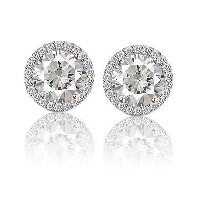 09ef30248 Amazon.com: 4 Ct Round Cut Moissanite Diamond Halo Stud 18K Rose Gold  Finish Earrings: Jewelry