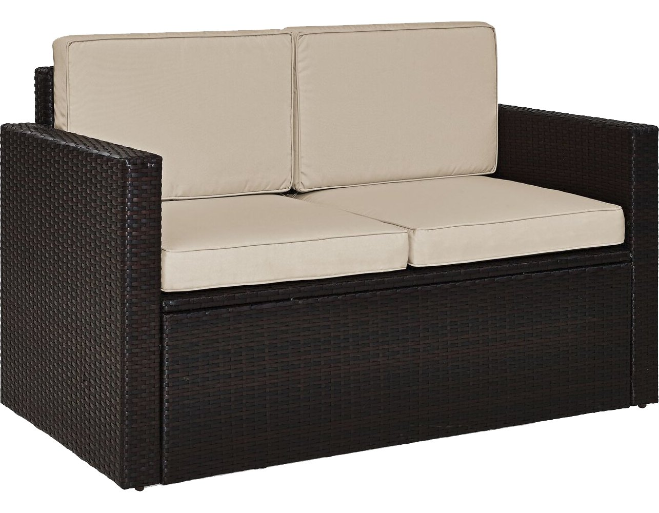 Crosley Furniture KO70092BR-SA Palm Harbor Outdoor Wicker Loveseat, Brown with Sand Cushions