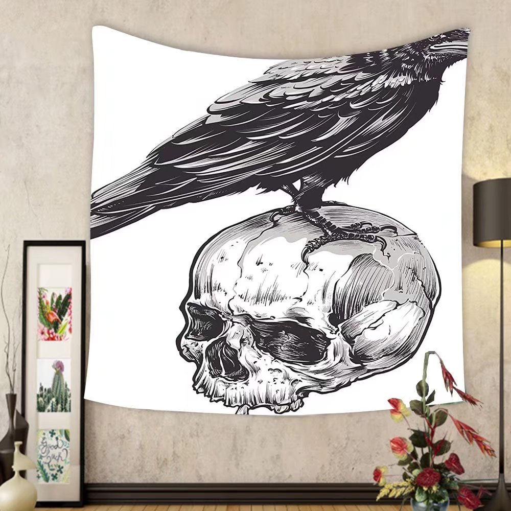 Gzhihine Custom tapestry Scary Decor Tapestry Scary Movies Theme Crow Bird Sitting on a Human Old Skull Sketchy Image for Bedroom Living Room Dorm 60 W X 40 L Black and White