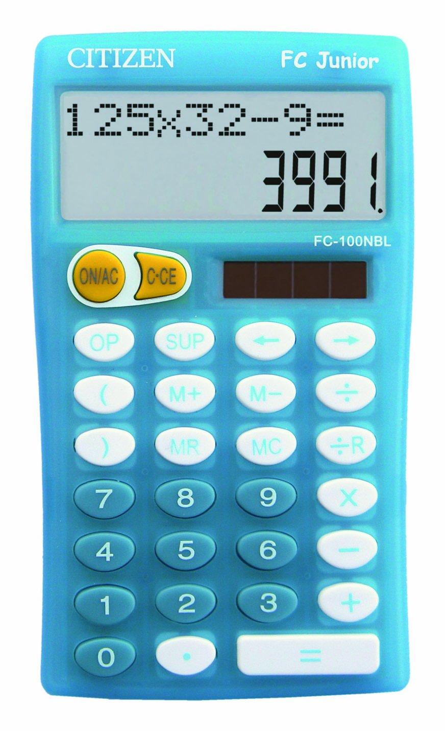 CITIZEN Calculatrice scolaire primaire 10 grands chiffres bleue