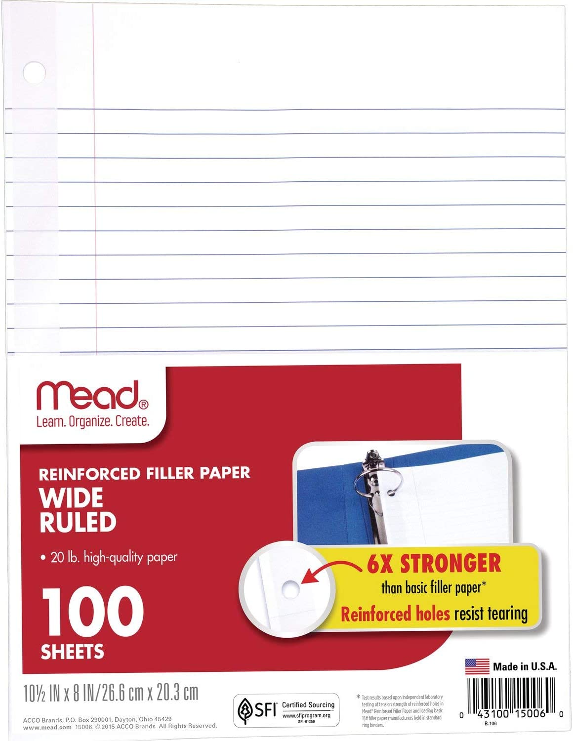100 Sheets//Pack Wide Ruled 15000 Five Star Loose Leaf Paper Reinforced Filler Paper 1 Pack 10-1//2 x 8 inches 3 Hole Punched