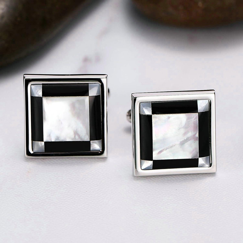 Adisaer Mens Stainless Steel Cuff Links Black White Square Mens Dress Cufflinks Business Mens Gift