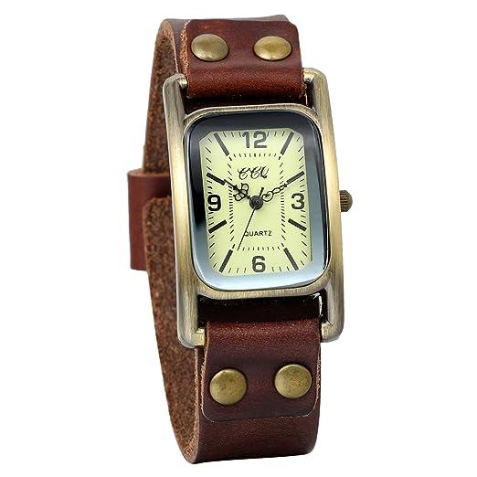 JewelryWe Clásico Relojes Hombre Mujer, Correa De Cuero Marrón, Diseño Vintage Rectangular, Reloj Vintage Retro Unisex, Regalo De Amistad: Amazon.es: ...