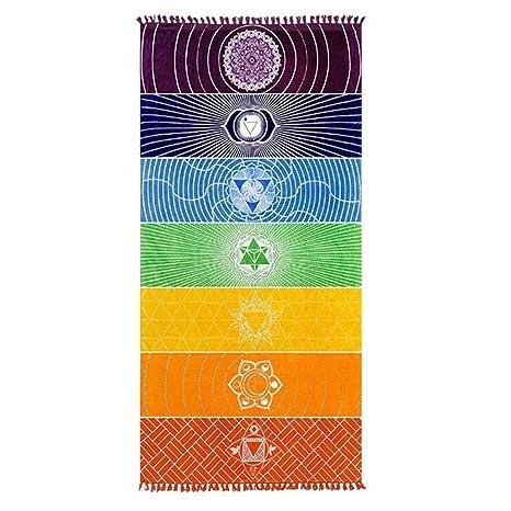Único Yoga manta, Rectangular Estilo Indio 7 chakras Mandala tapiz para decoración del hogar y Rainbow rayas toalla de playa