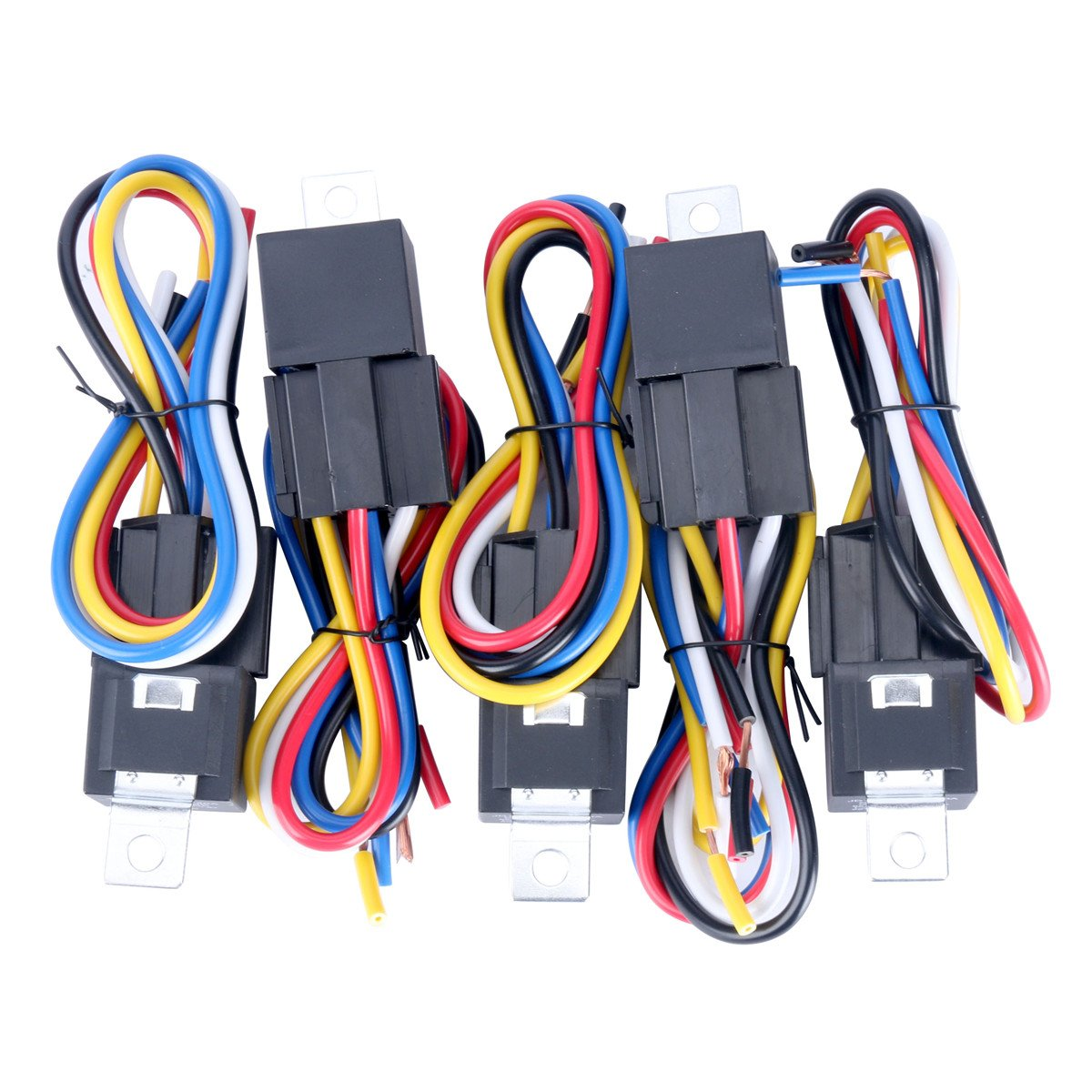 8milelake 12V 30//40 AMP SPDT Automotive Relay with Wires /& Harness Socket 5 pack
