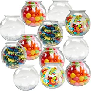 Playko 16 Ounce Fish Bowls - Pack of 12 Small Plastic Bowls Clear Plastic Bowls - Mini Fish Bowls - Plastic Vases for Centerpieces - Bulk Fish Bowls - Party Bowls for Carnival Games