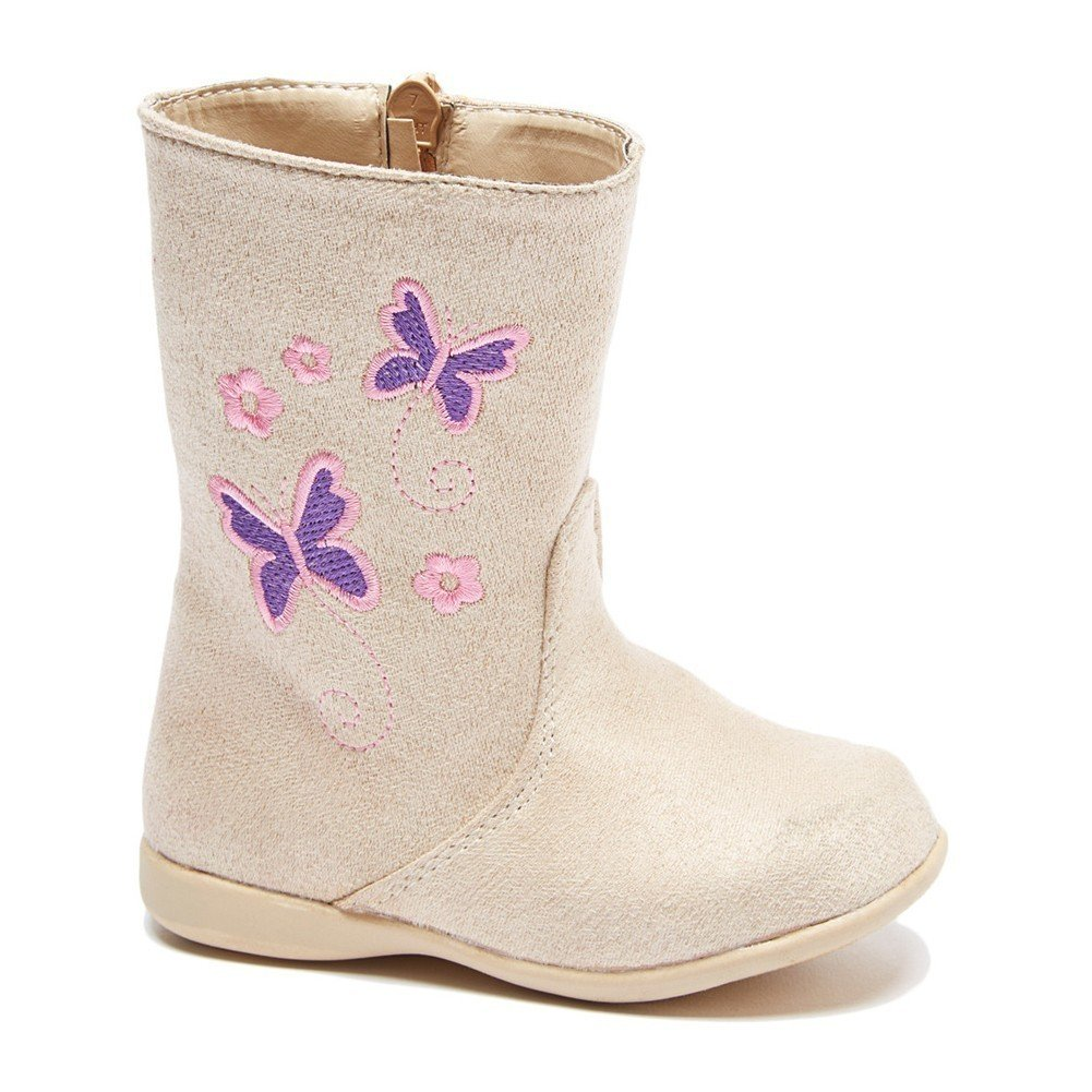 Little Girls Beige Butterfly Embroidered Side Zip Boots 8 Toddler