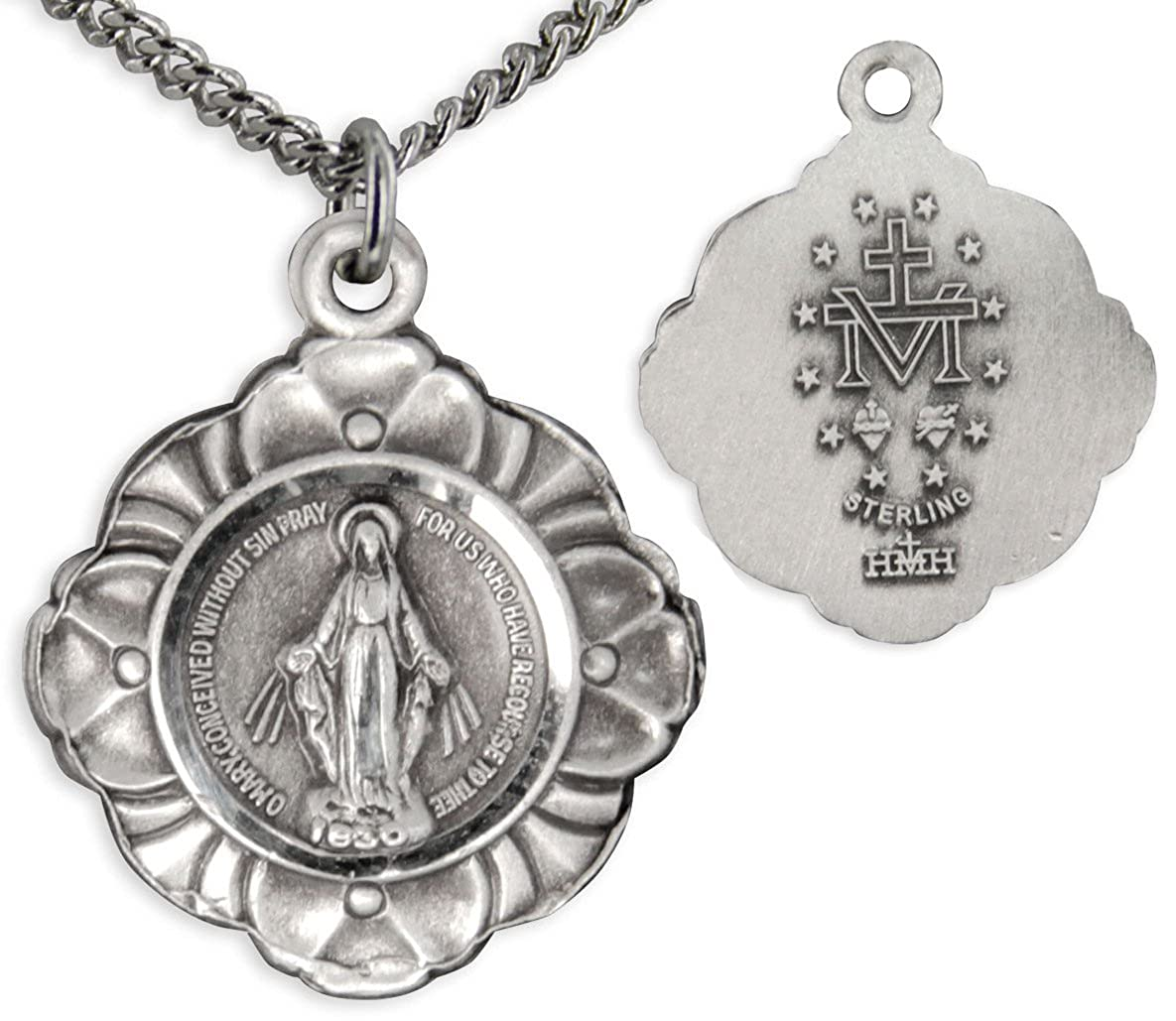 Heartland Womens Floral Edge Miraculous Medal Necklace USA Made Chain Choice