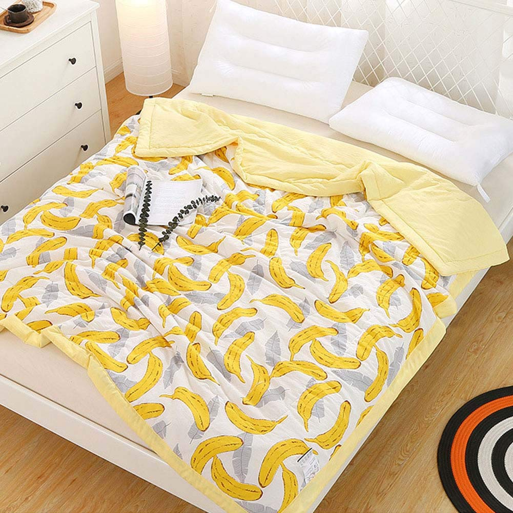 CH&Q Banana Printed Quilt Comforter,Cute Cozy Lightweight Cotton Blanket Twin,Soft Warm Throw Blanket for Bed,Couch & Sofa,Bedding Coverlet (Twin 59''x 78'',Banana) by CH&Q