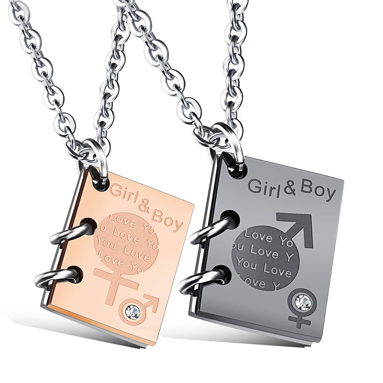 CHARMFAME 2 Pcs Book Couple Necklace Black /& Rose Gold Plated Stainless Steel Pendant Necklaces for Men /& Women