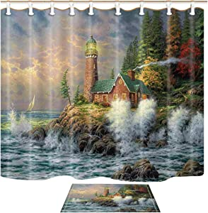 Shocur Lighthouse Shower Curtain Set, Coast Waves and Cape Tower Cabin, Bathroom Decor Polyester Fabric 69 x 70 Inches Nature Theme Bath Curtain with 12 Hooks and Non-Slip 40 x 60cm Bath Rug