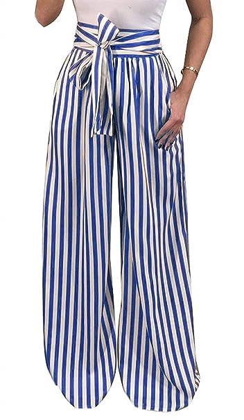Mujer Pantalones Largos Pantalones Verano Flecos Cintura Alta Pantalones  Palazzo Anchos Fiesta Estilo Fashion Trousers Pantalones De Tela con  Cinturón Niña  ... 8916a4703b5