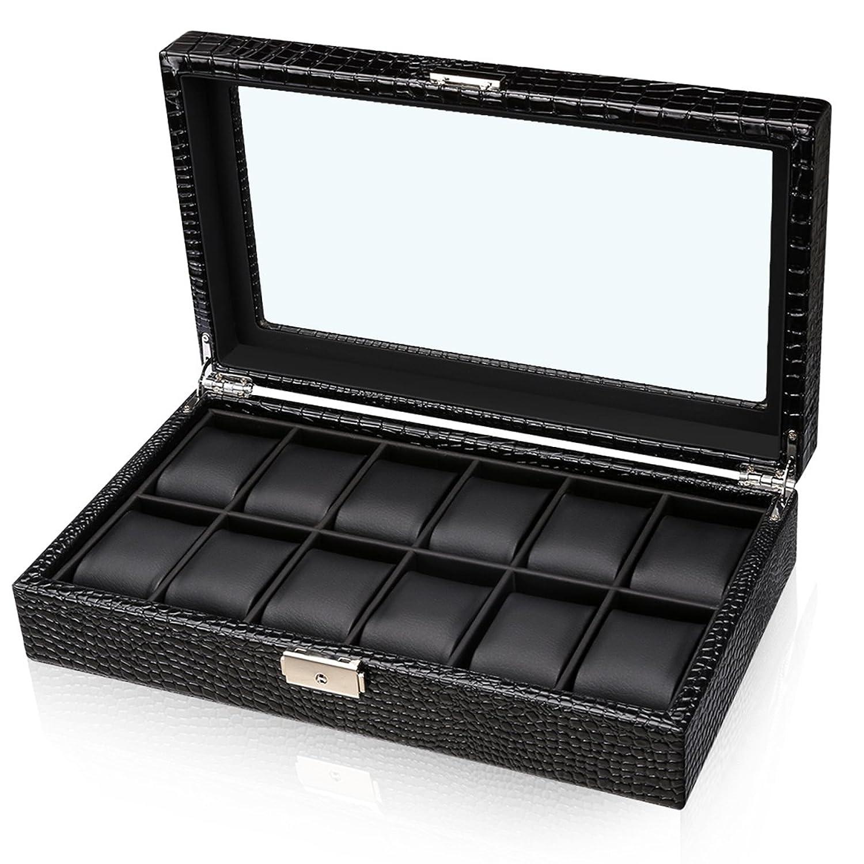critiron Watch Box withロック、高級メンズ12 Watchesオーガナイザーストレージケース、フェイクレザー表示ホルダーwithアクリルガラス、ブラック B077S9KMJW